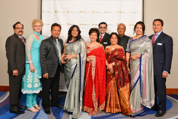 Gala Co Chairs   Charlie and Angela Yalamanchili, Ash and Leena Shah, Pratham Houston President Dr. Marie Goradia, Gala Co Chairs Urvish Vashi, Anuradha and Mani Subramanian, Gala Chairs Arpita and Amit Bhandari