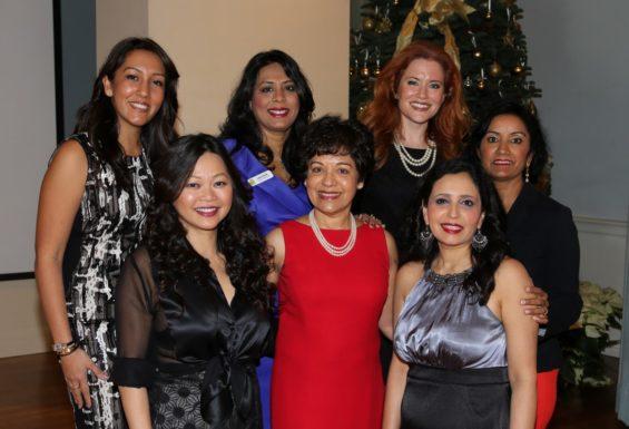 (Counterclockwise from bottom left) Chloe Dao, Fashion Designer, Marie Goradia, Pratham Houston President, Asha Dhume & Annu Naik, Luncheon co-chairs, Leena Shah, Host committee chair, Ingrid Vanderveldt, Keynote speaker, Sapna Singh, emcee